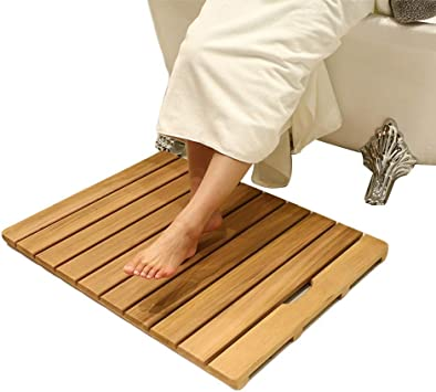 Alqn Natural Wood Shower Bath Mat Indoor Outdoor Sturdy Anti Slip Square Multipurpose Waterproof Floor Mats With Coating A 50 50cm Amazon Co Uk Diy Tools