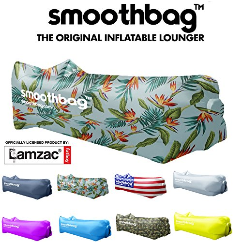Inflatable Lounger and Indoor Outdoor Sofa: Lazybag Air Lounge Chair with Built-In Headrest | Banana Sleeping Bag, Hammock, Pool Float, Portable Camp Seat, Lazy Hangout Couch Bed (Tropic) (Banana Lounge Chair)