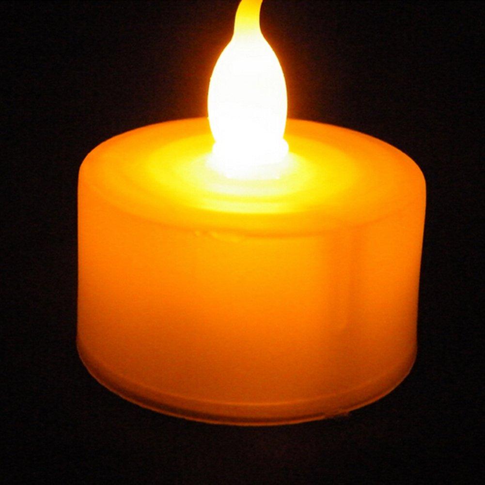 12pcs lunga durata funzionamento a batteria 12pcs-Yellow Katomi lumini LED senza fiamma t/è luce Candele flicker