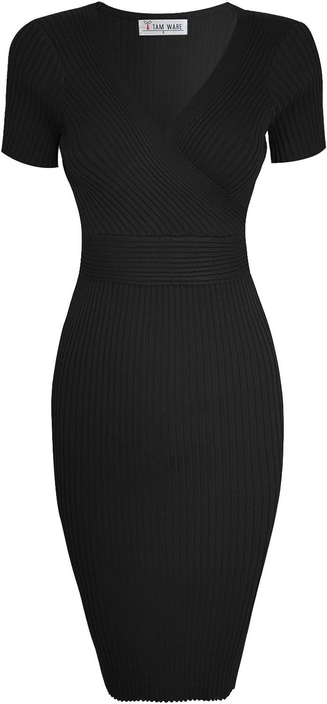 TAM WARE Womens Stylish Surplice Wrap Bodycon Knit Midi Dress
