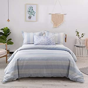 Lausonhouse French Linen Duvet Cover Set, 100% Linen Yarn Dyed Striped Duvet Cover Set,Luxurious Bedding Set - Full/Queen - Blue Stripe