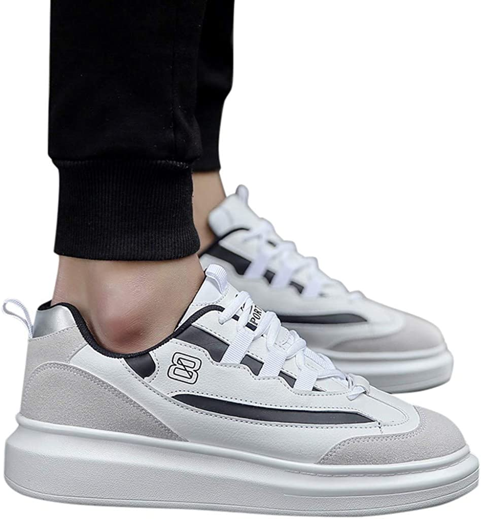 Vectry Mode Homme Baskets Antidérapantes Tendance Chaussures Plates Loisirs Petites Chaussures Blanches Randonnée en Plein Air Trekking Baskets Casual Gris