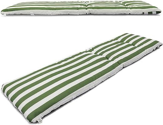Cojín Colchón para Tumbona o Mueble para Jardín, Playa… + Bolsa AL VACÍO Reutilizable (Medidas 180 x 55x 8, 5cm). Diseño Rayas Verdes Y Blancas.: Amazon.es: Jardín