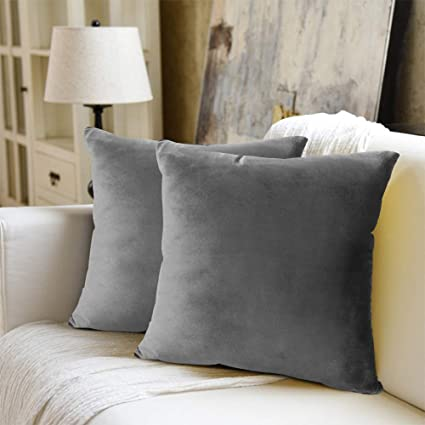 Weyon Velvet Soft Decorative Square Throw Pillow Case Cushion Covers Pillowcases For Sofa Bedroom With Invisible Zipper 2 Pack 16 X16 Grey Amazon Co Uk Kitchen Home
