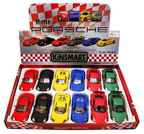 12 Blue Diecast Car - Kinsmart Porsche Assortment Diecast Car Package - Box of 12 assorted 1/36 scale Diecast Model Cars