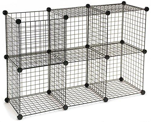 KC Store Fixtures 04134 Mini Grid Storage Unit, Black, 6 Cubes, Pounds by kc store fixtures