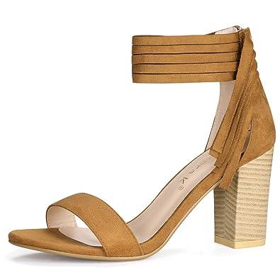 Allegra K Women s Open Toe Tassels Detail Chunky Heeled Sandals (Size US 5)  Brown