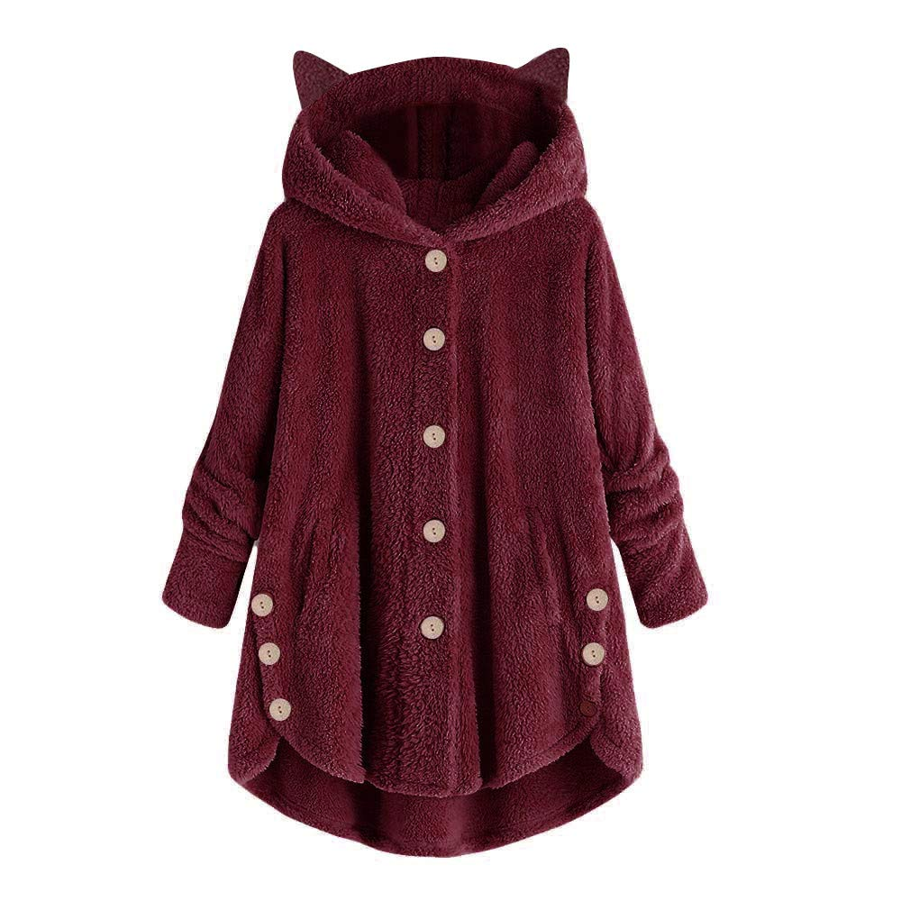 Pullover Sweaters for Women,2019 New Coat Ladies Bottoming Fluffy Tail Tops Loose Hooded Pullover Plus Size Chaofanjiancai Wine by Chaofanjiancai_Coat
