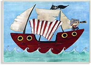 Stupell Home Décor Pirate Ship at Sea Canvas Wall Art, 16 x 20, Multi-Color