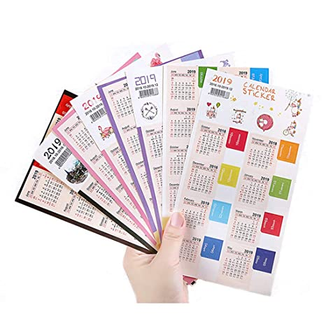 Calendars Stickers for Bullet Journal, Agendas and Organizers - Planners Monthly Adhesive Index Tabs, 8 Sets in Multi Color(328 Tabs)