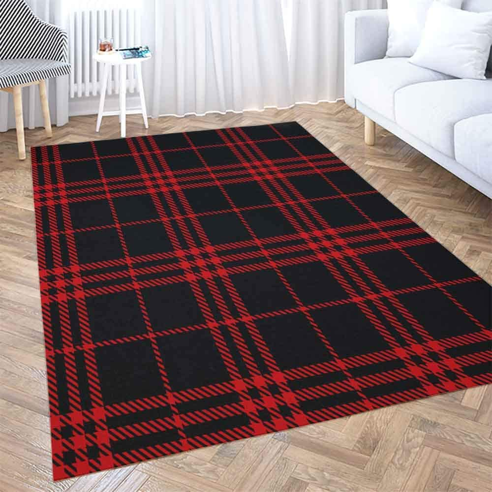 5x7 Area Rug Shorping Play Area Rug Winter Rug Christmas Area Rugs Black Red Tartan Plaid Scottish Pattern Texture Modern Home Carpet Fun Area Rug Floor Mats For Home Bedroom Large