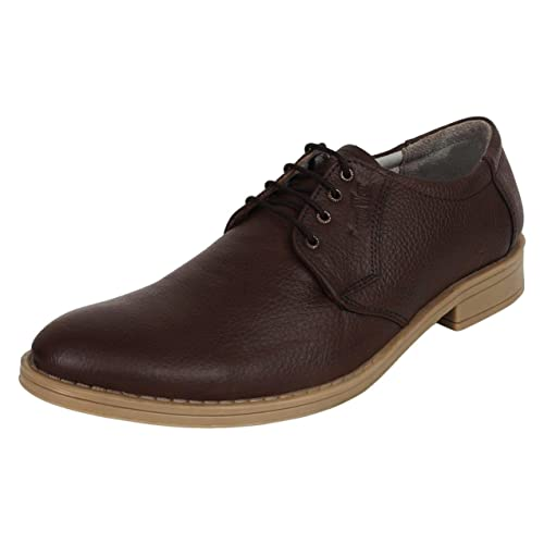 dcabce43191e SeeandWear Formal Shoes for Men. Genuine Leather Lace Up Shoes Brown (6)