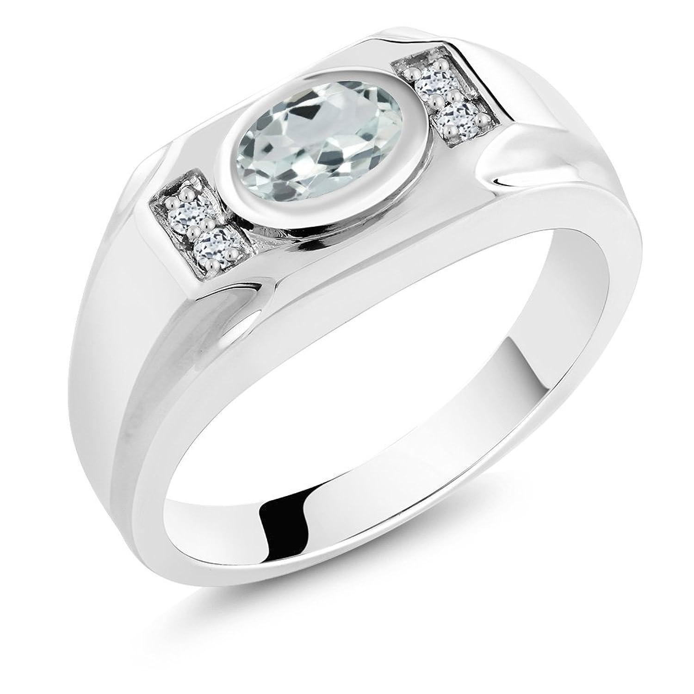 1.26 Ct Oval Sky Blue Aquamarine White Topaz 925 Sterling Silver Men's Ring