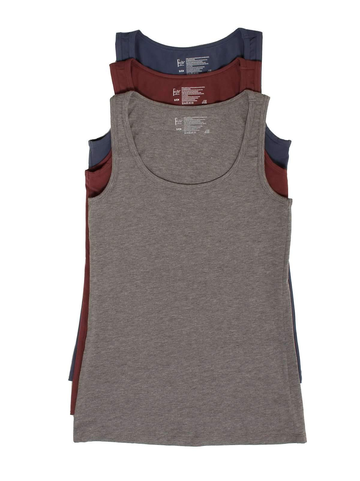 Felina | Cotton Stretch Layering Tank Top 3 | Gray Plum Vintage Indigo | Small