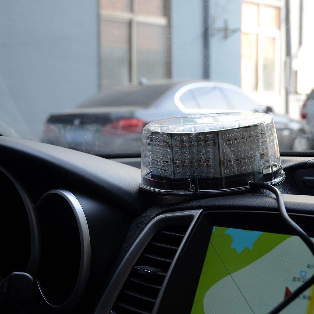 Lanxi 240 LED Lumi/ère Stroboscopique Gyrophare pour Voiture avec Fixation Magn/étique Camion Lumi/ères Davertissement Feux Stroboscope Flash avec 12v Plug Allume-cigare Bleu