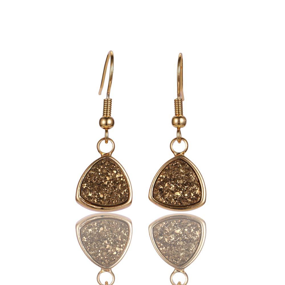 ShinyJewelry Triangle Shape Druzy Drop Earrings Resin Stone 24K Gold Plated Hook Earring