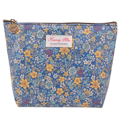Parateck Floral Print Zipper Cosmetic Makeup Case Pouch Trav
