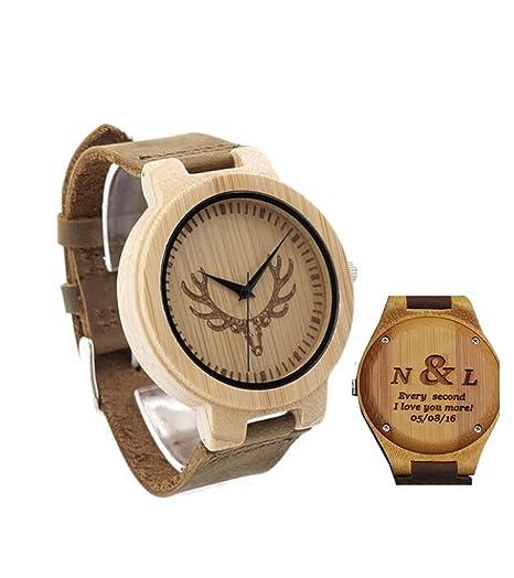 Grabado reloj de madera relojes personalizados personalizado novio regalos aniversario de boda regalo: Amazon.es: Relojes