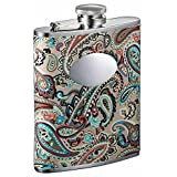 Visol Serenora Paisley Patterned Women's Flask with Oval Engraving Plate, 6-Ounce, Silver