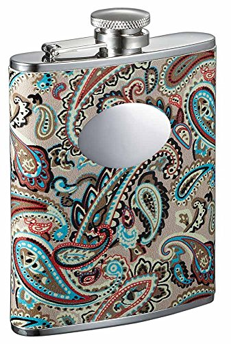 (Visol Serenora Paisley Patterned Women's Flask with Oval Engraving Plate, 6-Ounce,)