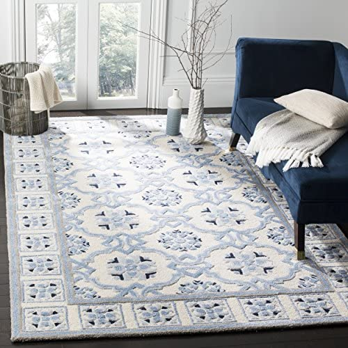 Safavieh Bella Collection BEL155A Ivory and Blue Premium Wool Viscose Area Rug 8 x 10