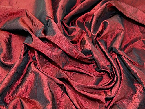 Crushed Textured Shot Taffeta Dress Fabric Dark Red - per metre