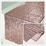 Zdada 12 x 108 Inch 10Packs Sparkly Rose Gold Wedding Cake Sequin Table Runner Sequin Tablerunner for Party Banquet