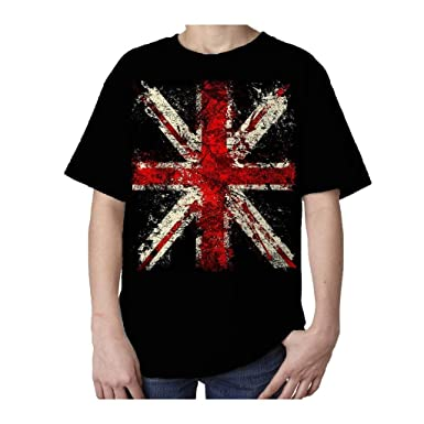 cd3e37c0 Kids Union Jack Distressed T-Shirt (Black) (Ages 3-4). Roll over image to  zoom in. London Tees