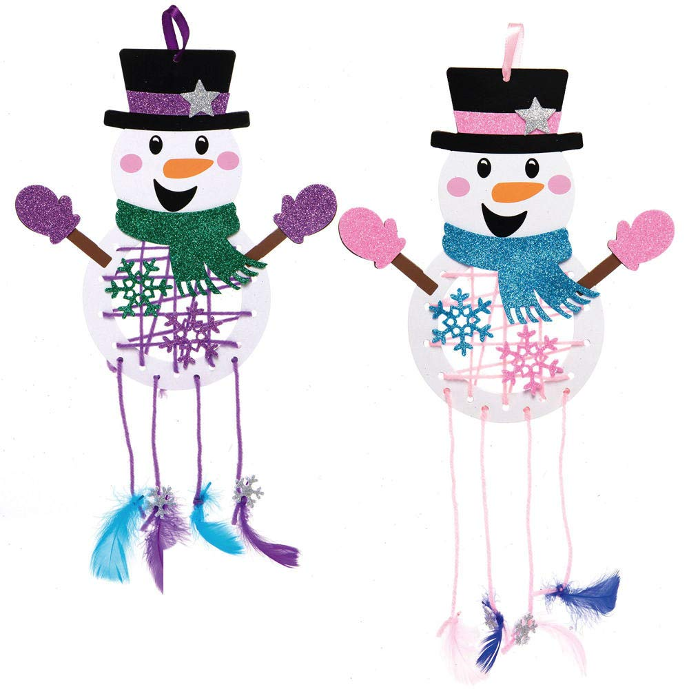 Baker Ross AX515 Kit Acchiappasogni Pupazzo Di Neve Creativi Articoli Natalizi E Artigianali Per Bambini Da Realizzare E Decorare Confezione Da 4