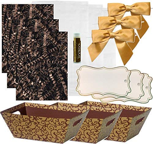 Pursito Gift Basket Making Kit Includes: Chocolate Scroll Market Tray, Crinkle Cut Paper, Cellophane Bag, Gold Satin Bow & Gift Tag -3 Total Sets Birthday, Anniversary & Graduation with bonus Lip Balm