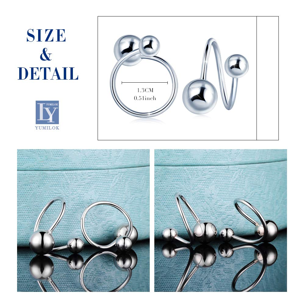 Yumilok Jewelry 925 Sterling Silver Rose Gold Plated Spiral Balls Hoops Screw Back Earring for Women//Ladies//Girls