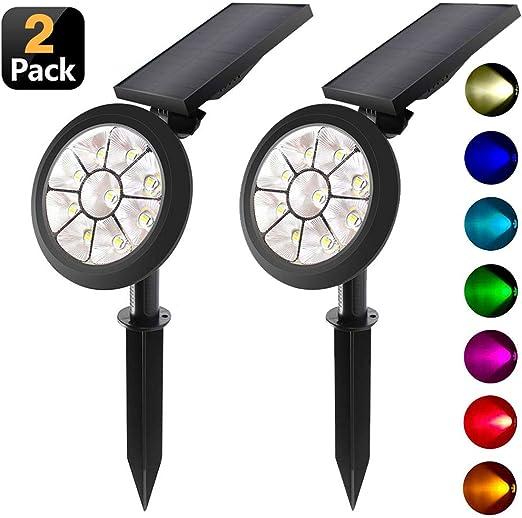 KANYEE 2 Pack Solar LED Focos 7 Colores Auto Cambiando o Fijo ...
