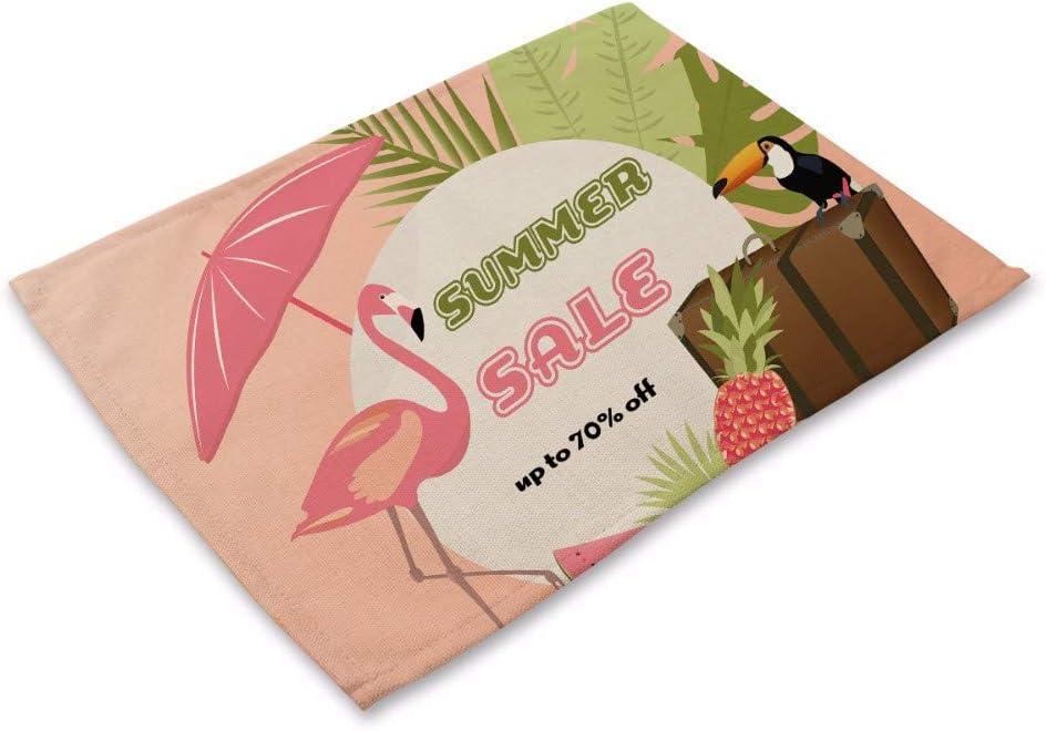 PatTheMat Mantel Individual Conjunto De 6 Algod/ón Y Lino Tejido Mezclado Decoraci/ón Sano Natural Resistente Al Calor Trapo Creativa Impresi/ón De Aves Diferentes Flamingo