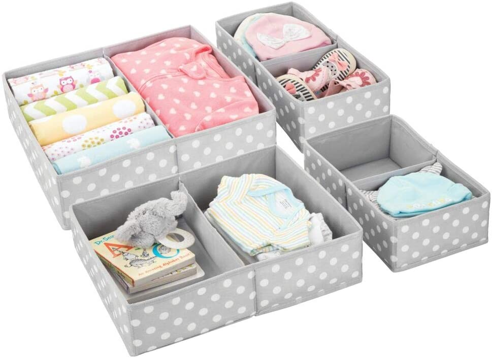 mDesign Soft Fabric Dresser Drawer and Closet Storage Organizer for Child/Kids Room, Nursery - Divided 2 Compartment Organizer - Fun Polka Dot Print, 2 Pack - Gray with White Dots