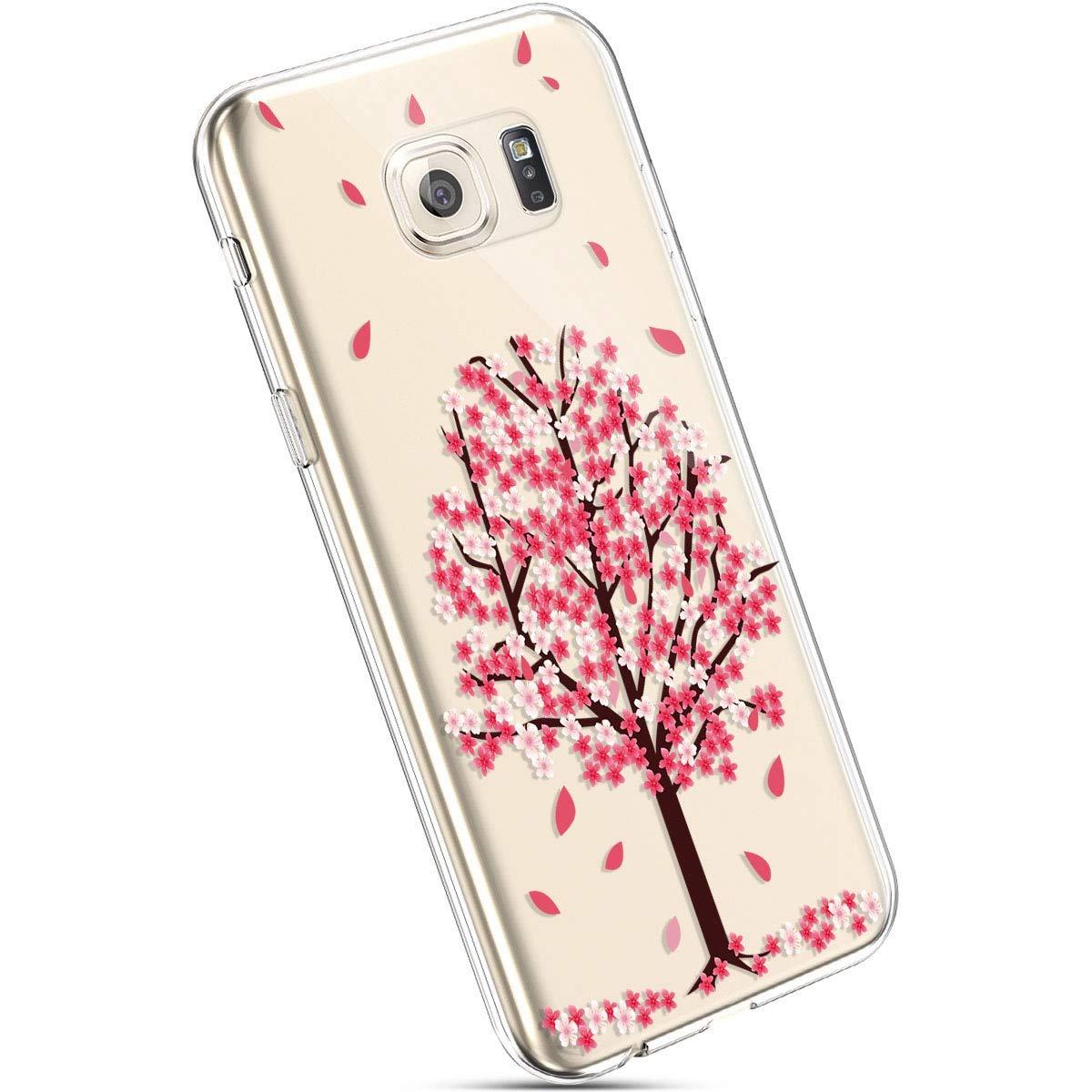 Robinsoni Cover Compatibile con Samsung Galaxy S6 Edge Plus Cover Silicone Colorate Clear View Trasparente Cover Morbido Flessibile Antiurto Cover Sottile Cartoni 360 Gradi Bumper di Gomma Custodia