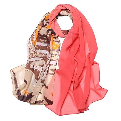 Aivtalk Sciarpa in mussola di seta a lunga da donna/ragazza Style-Foulard con scialle Drapé per viaggiare primavera e autunno, colore: rosa rosso Taglia unica
