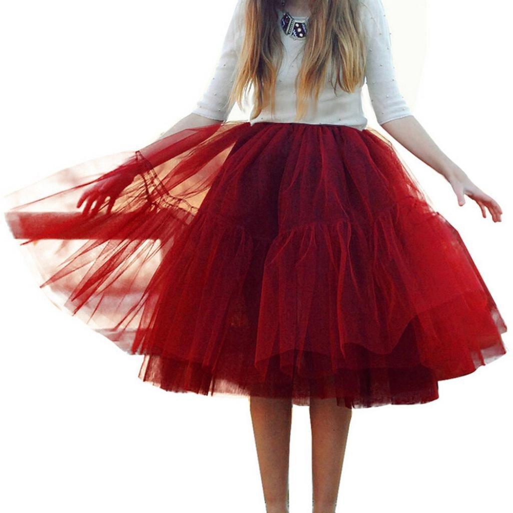 Women's High Waist Princess Tulle Skirt Adult Dance Pleated Gauze Draped Wedding Party Tutu (Wine, One Size)