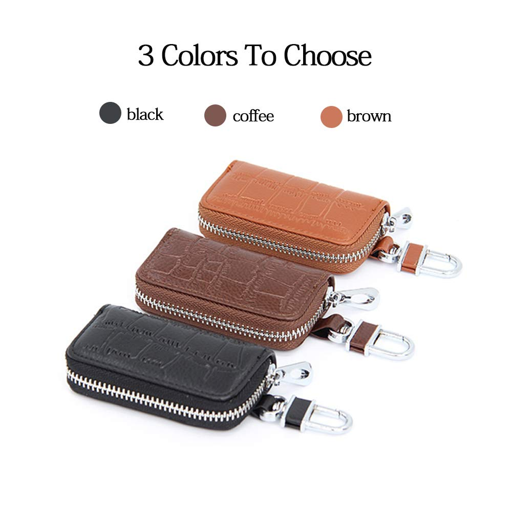 Black Premium Leather Car Smart Keychain Coin Case Metal Hook and Keyring Wallet Zipper Case for Auto Remote Key Fob HerMia Car Key Holder