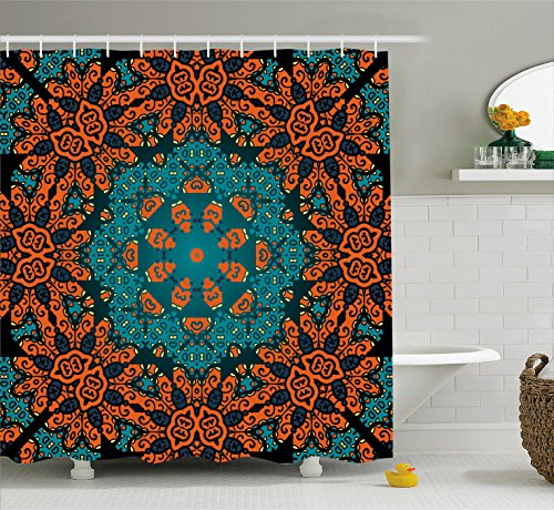 Ambesonne Psychedelic Decor Shower Curtain Set, Round Paisley
