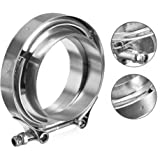WYKA Universal 304 Stainless Steel V-Band Clamp Kit Assembly,Racing Mmodified Accessories,Turbocharged V-Belt Clip Silver, 2.35Inch
