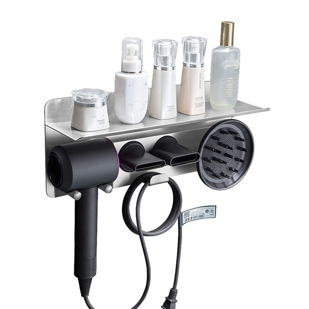 Stainless Steel Wall Mounted Hair Dryer Holders Bracket Storage Rack for Dyson Hair Dryer, Bathroom Shelves, 40×13×10.5cm (Color : Silver)