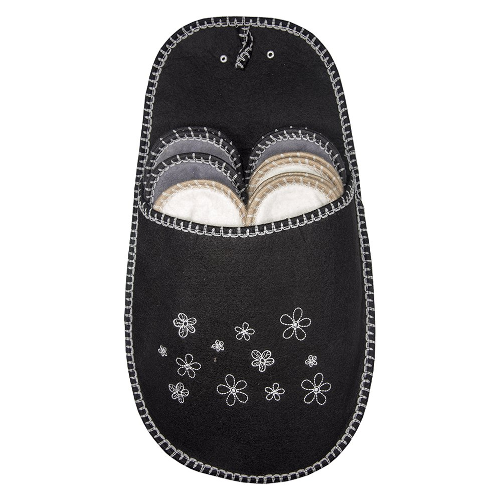 SLIPPERTREND Fleece Felt Close Toe 6 Pairs Small Flowers Non Slip Indoor Family House Guest Slippers Set Black