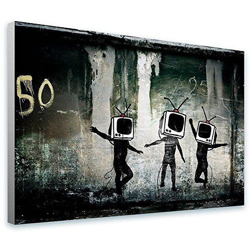 Alonline Art - Tv Heads Banksy FRAMED STRETCHED CANVAS (100% Cotton) Gallery Wrapped - READY TO HANG | 41