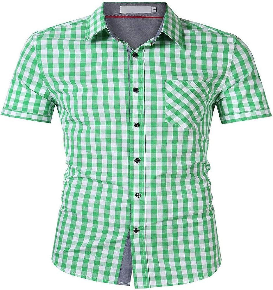 U/A Camisa de manga corta para hombre, camisa a cuadros para ...