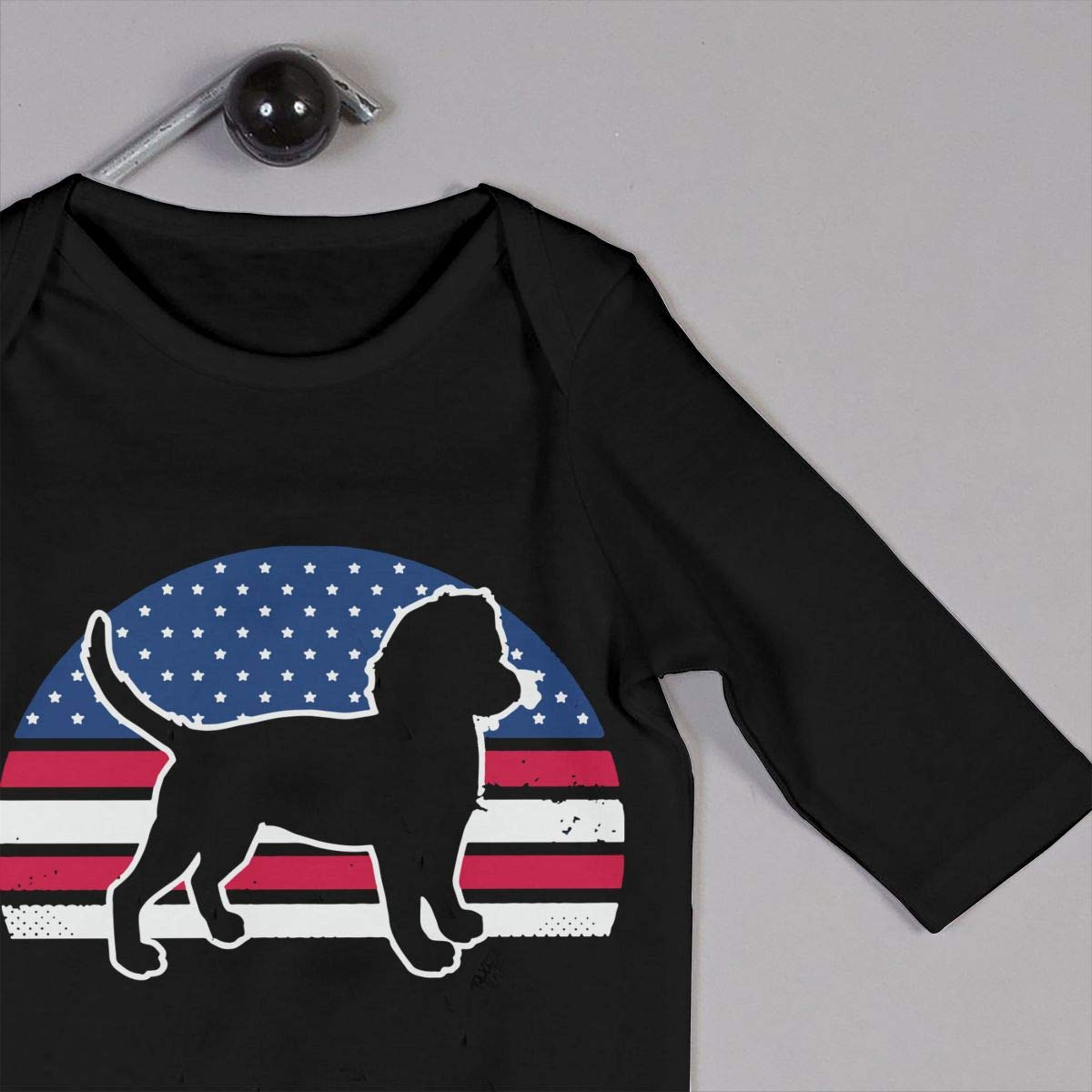 UGFGF-S3 Beagle American Flag Newborn Baby Long Sleeve Romper Jumpsuit Kid Pajamas