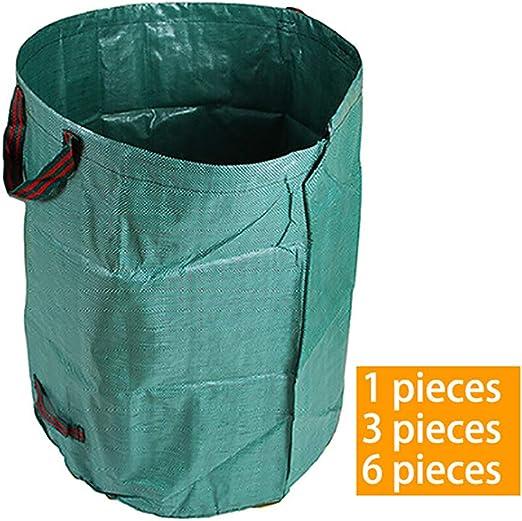 KAILUN Bolsa De Basura De Jardín 272 L - Juego De Piezas De 1/3/6 - Autoportante - Verde Lavable/Estable/Bolsa De Césped/Bolsa De Madera Dura/Material UV Impermeable De Doble Cara,3pieces: Amazon.es: Hogar