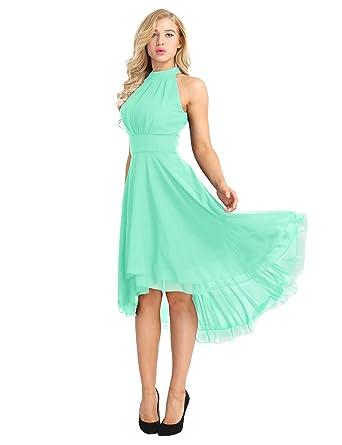 d742935f20b86 ACSUSS Women s Sleeveless Halter Neck Bridesmaid Dress High Low Evening  Prom Flare Dresses Mint Green 4