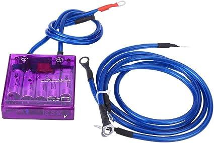 Keenso R/égulateur de Stabilisateur de Tension dEconomiseur de Carburant de Voiture 12V de Digital avec 3 C/âbles de mise /à la Terre Blue Stabilisateur de Tension Electrique
