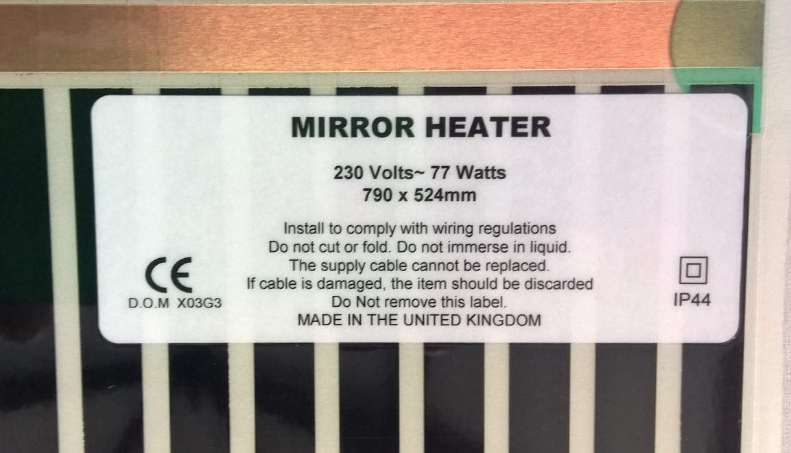 Mirror Demister Pad 252mm x 274mm