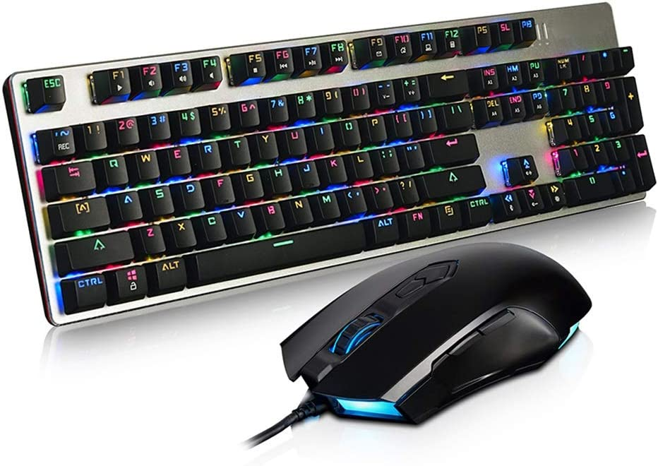 Color : A Full Color RGB Game Mechanical Keyboard and Mouse Set Jiu Si Green Axis USB Interface Wired Keyboard//Esports Game Eat Chicken Keyboard 104 Key Keyboard